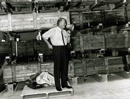 Mr JCB pictured on the shopfloor in the 1960s