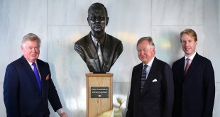 Bronze artwork honours Mr JCB on the centenary of his birth