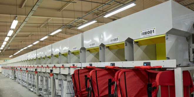 Axiom automates B2C Europe with 100 destination packet mail sorter