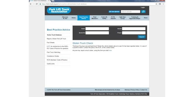 FLTA launches Stolen Fork Lift Truck Database