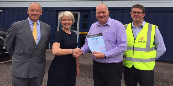 FLTA presents first on-site compliance certificate to SWIE-Lift