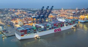 Worlds largest container ship the 21413 TEU OOCL Hong Kong makes m