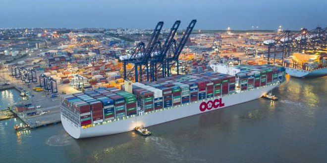 World's largest container ship the 21,413 TEU OOCL Hong Kong makes maiden call at Hutchison Ports Port of Felixstowe