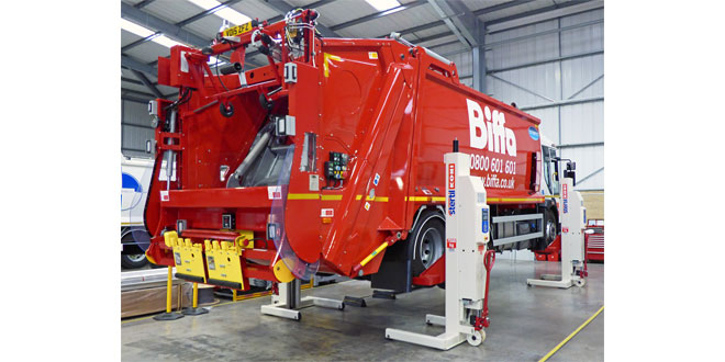 Stertil Koni wireless mobile column lifts support inspections and production for Dennis Eagle
