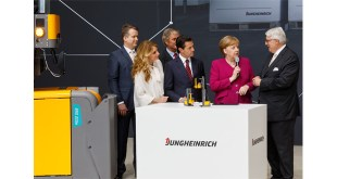 Chancellors tour Angela Merkel visits Jungheinrich at Hanover Messe CeMAT