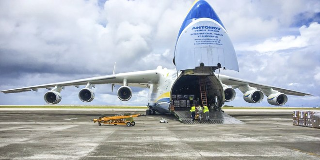 ANTONOV-225 flight brings huge payload of emergency aid to Guam hurricane victims