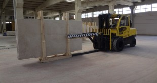 MARBLE HANDLED WITH CARE BY HYSTER LIFT TRUCKS