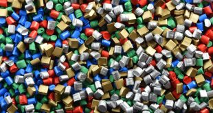 Plastic pallet granules ready to be used to create new, reusable plastic pallets and boxes