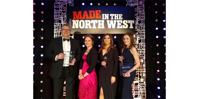 Cartwright team celebrates after double award win at the Made in the North West Awards