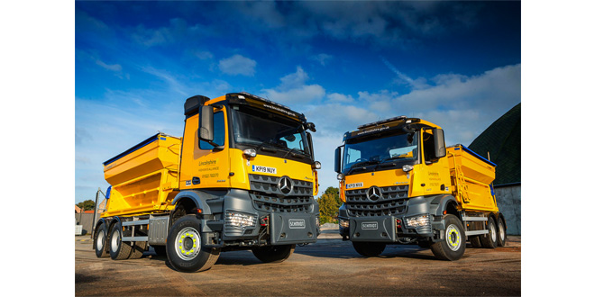 Mercedes-Benz Arocs gritters stand ready to take the cold call in Lincolnshire
