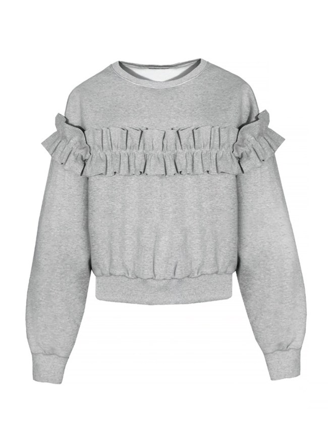 Fashionmia Ruffle Trim Plain Round Neck Sweatshirts