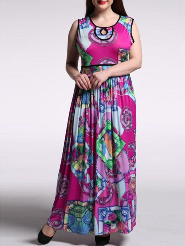 Fashionmia Swing Contrast Trim Keyhole Printed Plus Size Maxi Dress