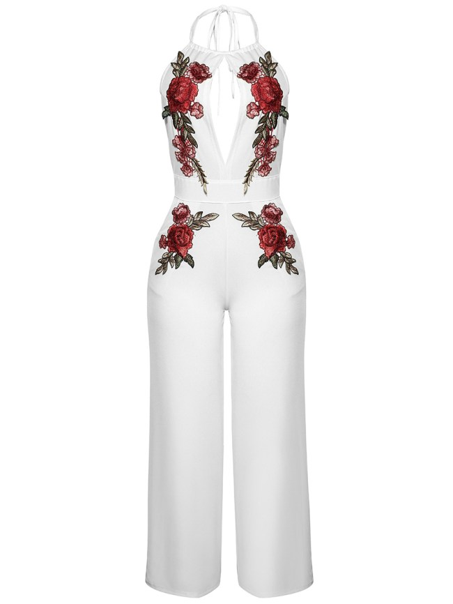 Fashionmia Halter Backless Embroidery Hollow Out Glamorous Wide-Leg Jumpsuit