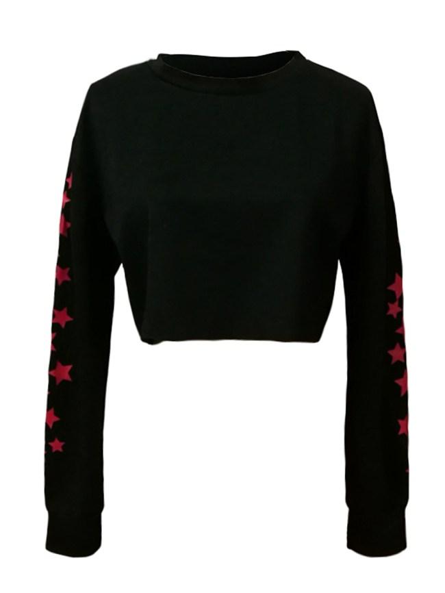 Fashionmia Round Neck Plain Star Long Sleeve Sweatshirts
