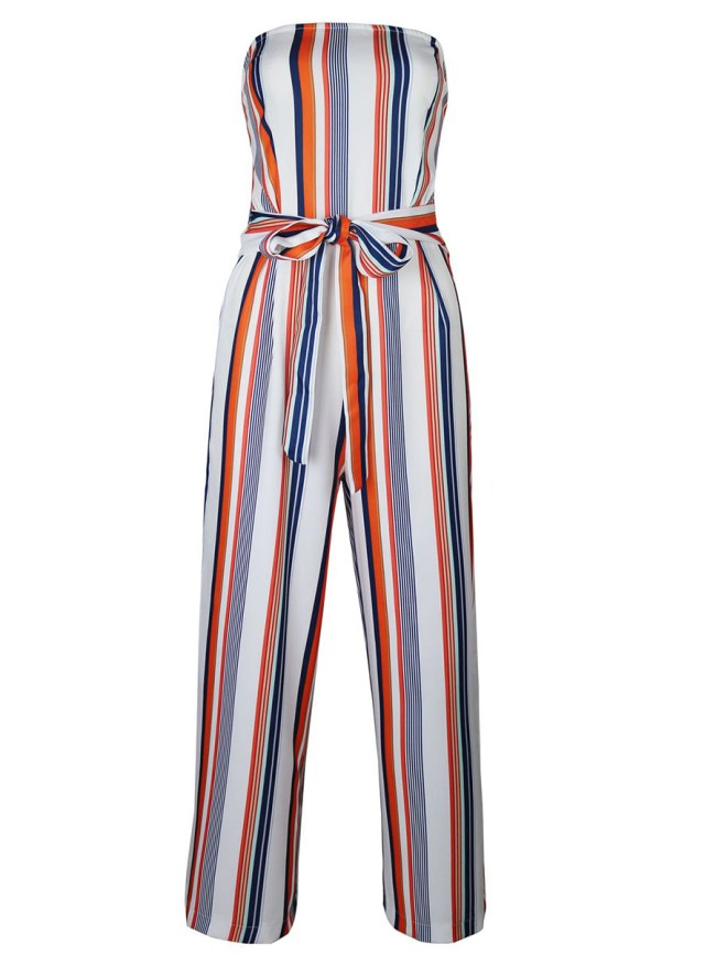 Fashionmia Strapless Vertical Striped Bowknot Wide-Leg Jumpsuit