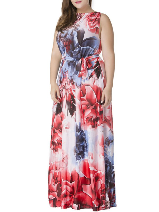 Fashionmia Sleeveless Boat Neck Plus Size Maxi Dress In Floral Printed