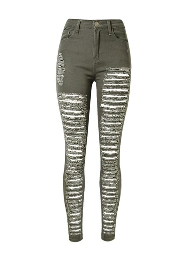 Fashionmia Ripped Plain Slim-Leg Mid-Rise Jean