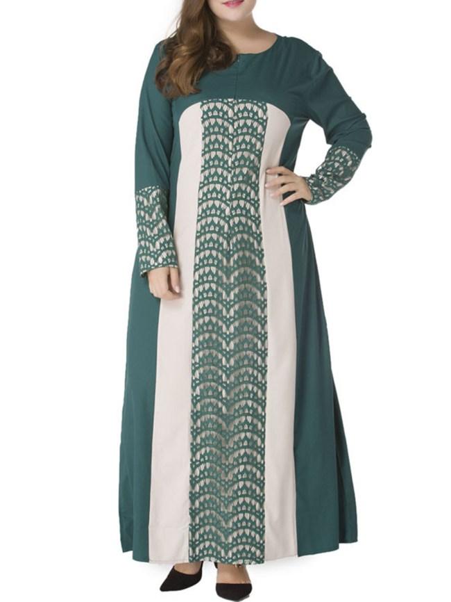 Fashionmia Decorative Lace Vertical Striped Plus Size Maxi Dress