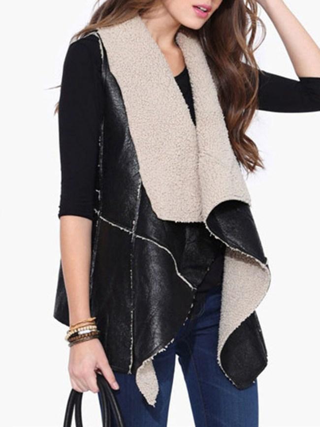 Fashionmia Lapel Plain PU Irregular Sleeveless Waistcoat