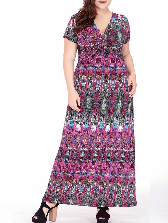Fashionmia Deep V-Neck Tribal Printed Empire Plus Size Maxi Dress