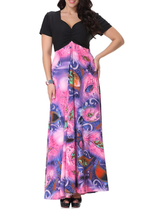 Fashionmia Charming Sweet Heart Plus Size Maxi Dress In Paisley Printed