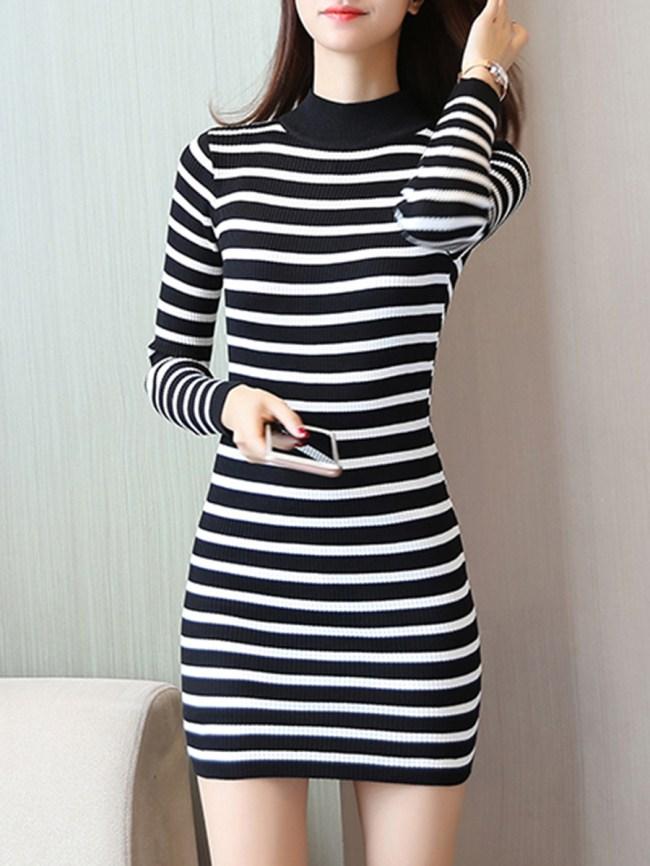 Fashionmia High Neck Striped Mini Knitted Dress
