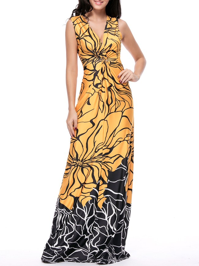 Fashionmia Deep V-Neck Color Block Printed Maxi Dress