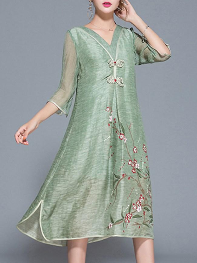Fashionmia V-Neck Floral Hollow Out Pocket Maxi Dress