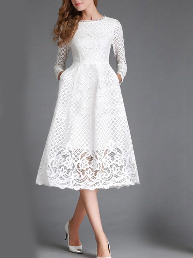 Fashionmia Round Neck Lace Hollow Out Plain Maxi Dress