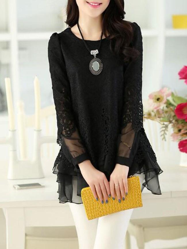 Fashionmia Round Neck Decorative Lace Patchwork Plain Long Sleeve Blouses