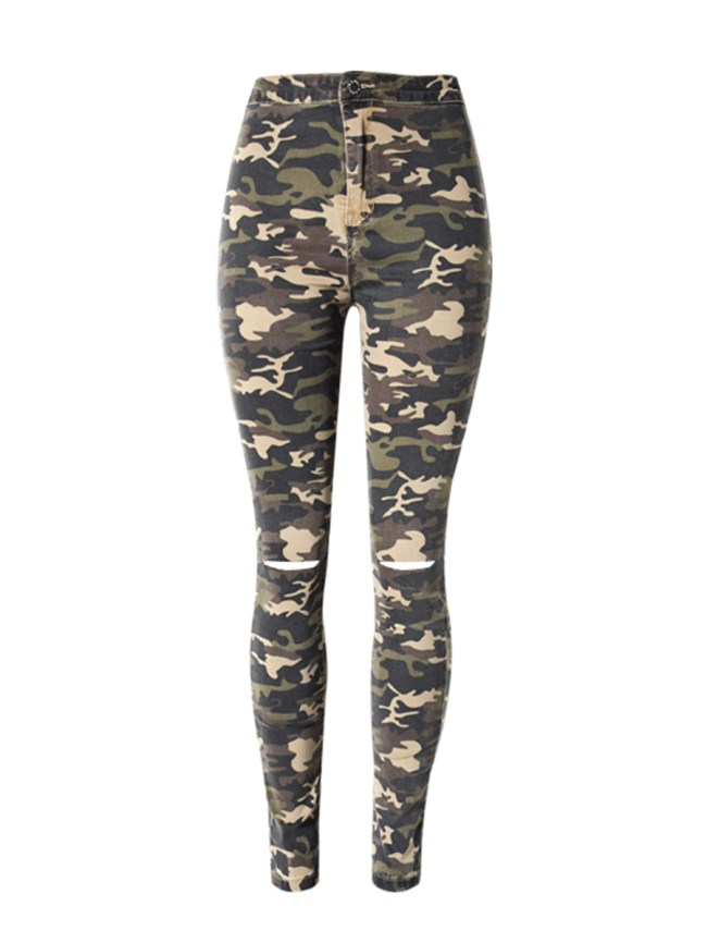 Fashionmia Camouflage Ripped Slim-Leg High-Rise Jeans
