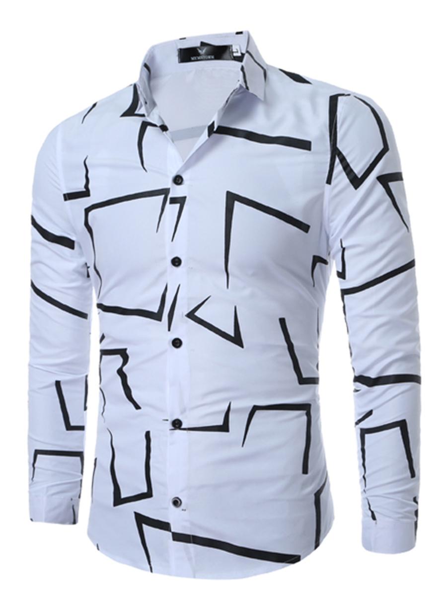 Turn Down Collar Contrast Piping Printed Cuffed Sleeve Long Sleeve Long Sleeves