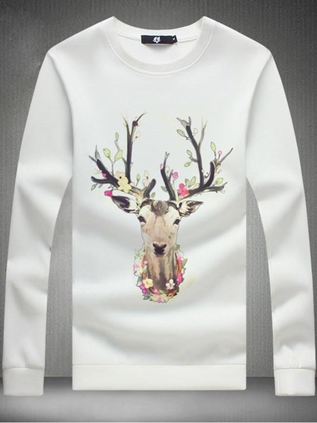 Fashionmia Men Round Neck Deer Printed T-Shirt