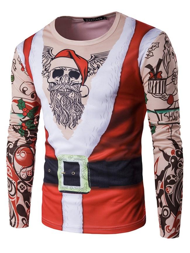 Fashionmia Men Round Neck Christmas Santa Printed T-Shirt