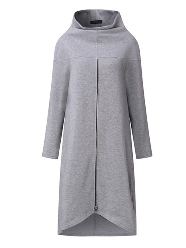 Fashionmia High Neck Chain Plain Long Sleeve Sweatshirts