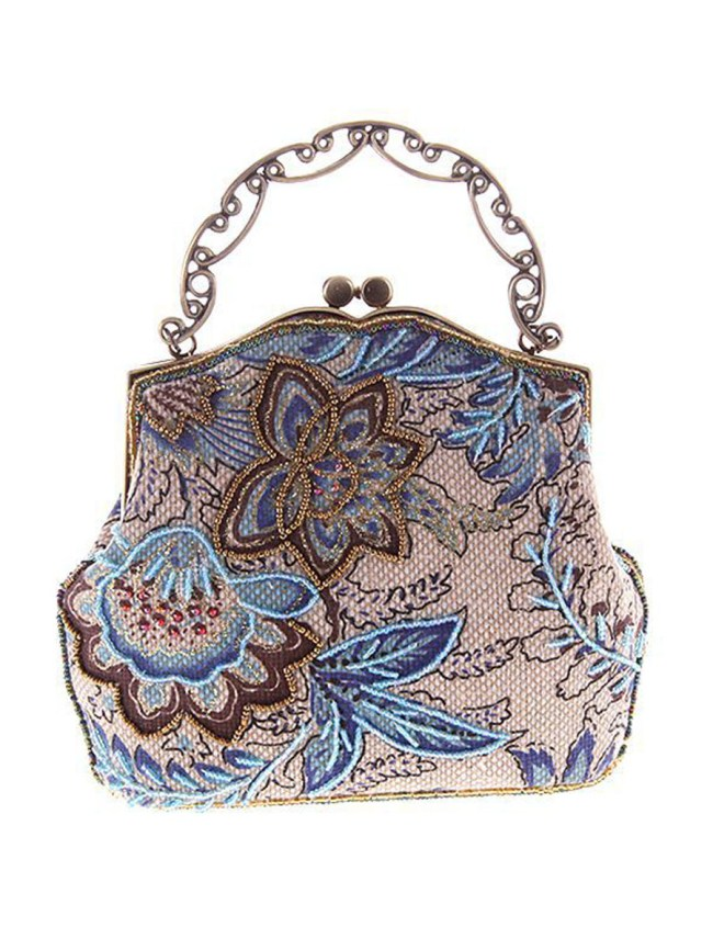 Fashionmia Floral Embroidery Bead Clutch Bag