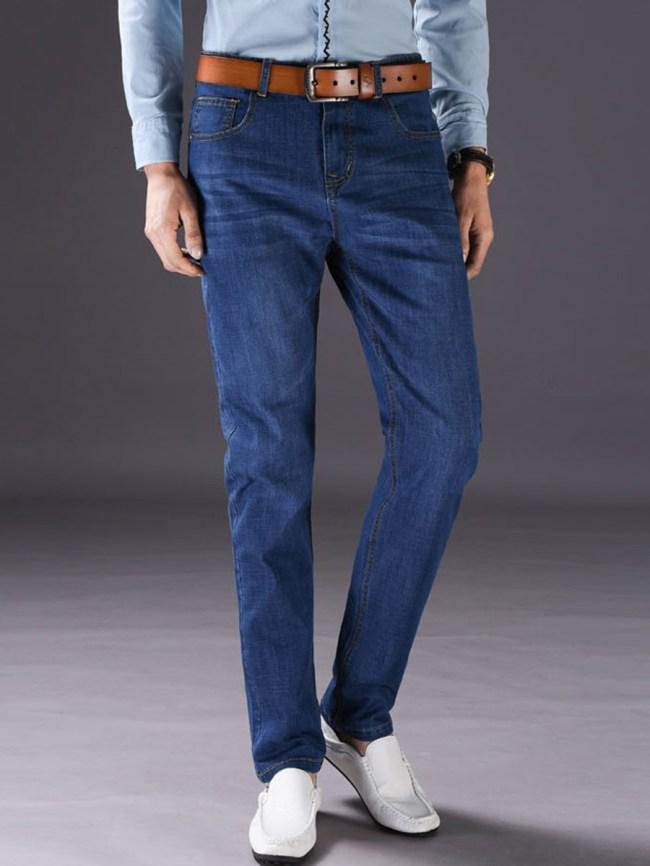Fashionmia Basic Light Wash Patch Pocket Straight Men's Jeans