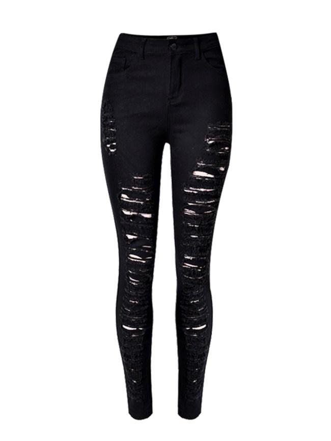 Fashionmia Broken Hole Ripped Plain Slim-Leg High-Rise Jean