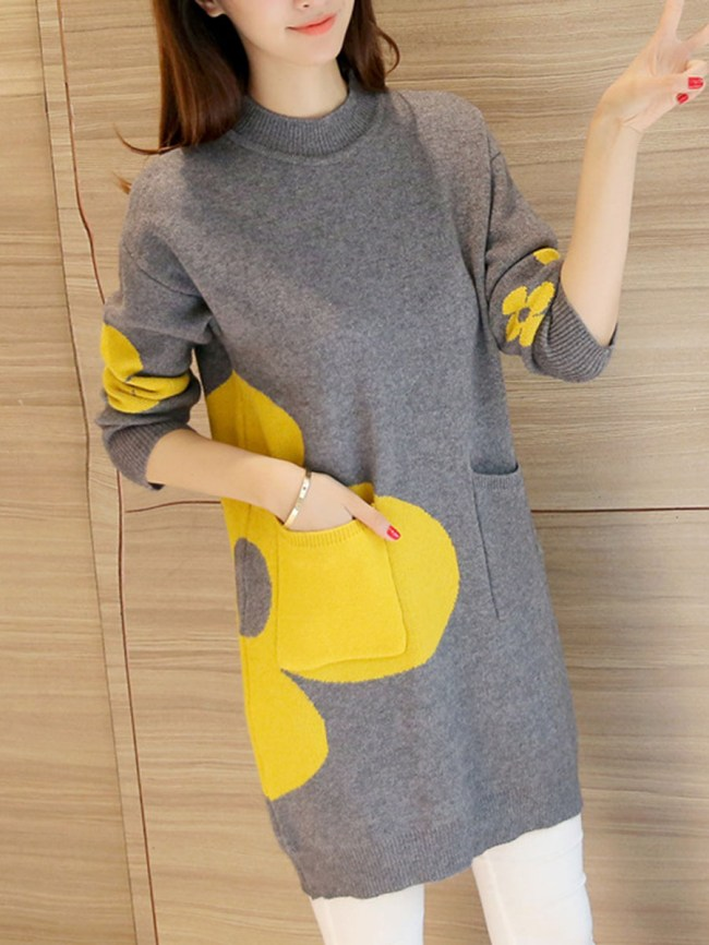 Fashionmia Round Neck Knit Knitted Dresses