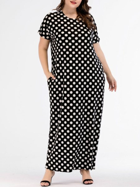 Fashionmia Round Neck  Polka Dot Plus Size Midi & Maxi Dresses
