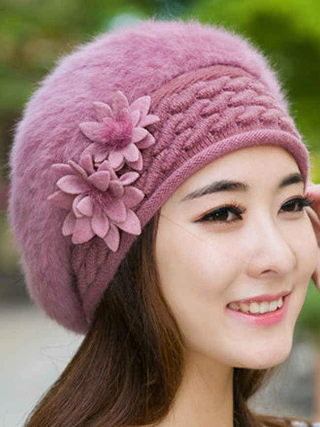 Fashionmia Lady Elegance Fashion Faux Fur Plain Hats For Winter Women
