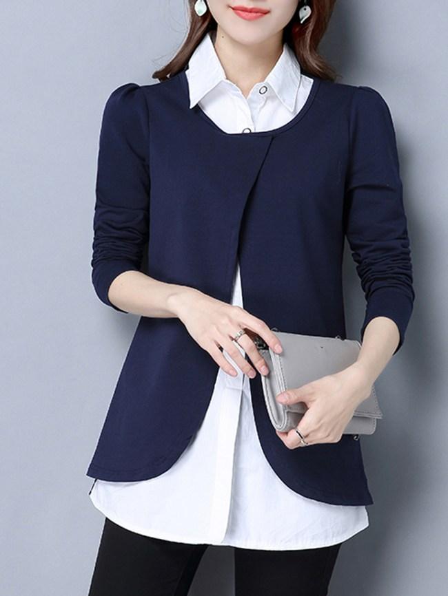 Fashionmia Turn Down Collar Color Block Plus Size Blouse