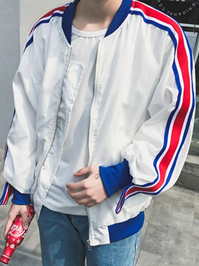 Fashionmia Men Striped Band Collar Pocket Bomber Jacket