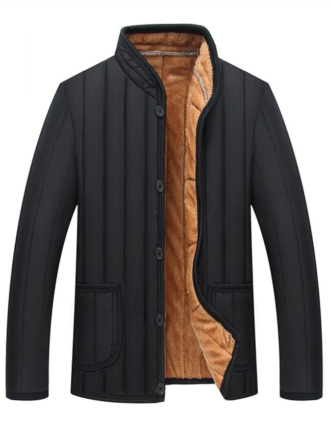 Fashionmia Band Collar Fleece Lined Patch Pocket Men Coat