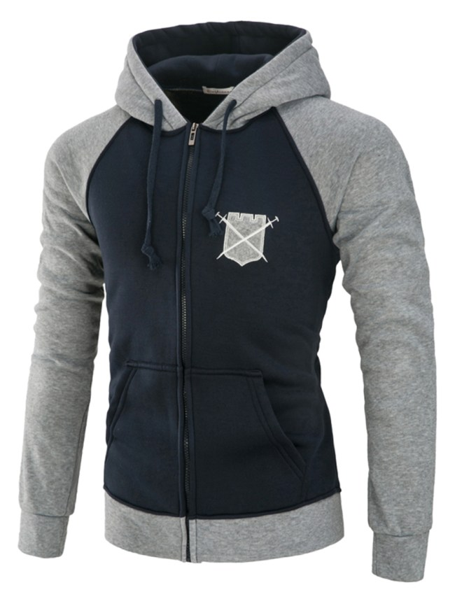 Fashionmia Hooded Patch Pocket Embroidery Men Coat