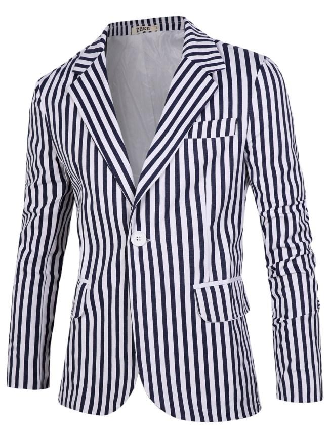 Fashionmia Men Vertical Striped Single Button Blazer
