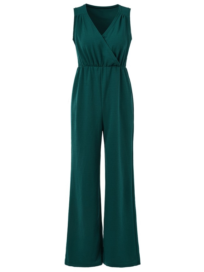 Fashionmia Deep V-Neck Plain Wide-Leg Jumpsuit