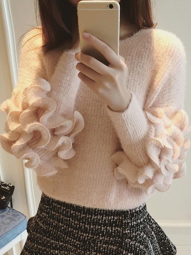 Fashionmia Round Neck Flounce Plain Sweater