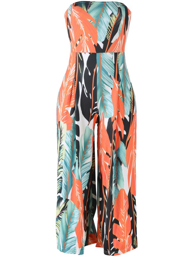 Fashionmia Strapless Printed Wide-Leg Jumpsuit