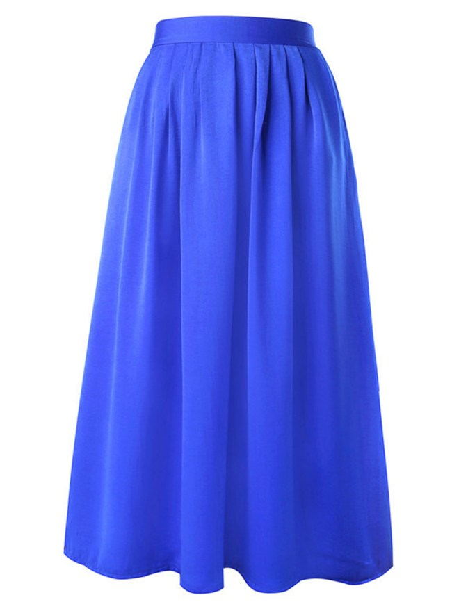 Fashionmia Plain Elastic Waist Flared Maxi Skirt